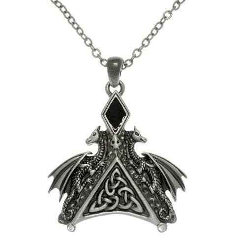 Pewter Enamel and Crystal Dragon Necklace