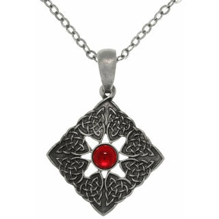 Pewter Square Celtic Knotwork Chain Necklace with Red Center Stone