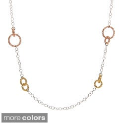La Preciosa Sterling Silver Mesh Circles 36-Inch Necklace
