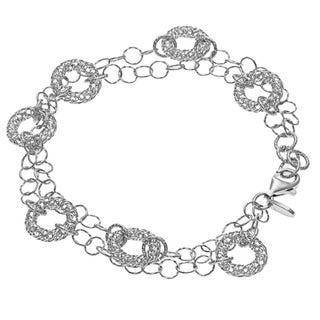 La Preciosa Sterling Silver Mesh Circles Double-Strand Bracelet