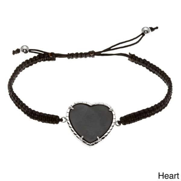 La Preciosa Sterling Silver Adjustable Cord with Onyx Macrame Bracelet