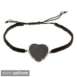 La Preciosa Sterling Silver Adjustable Cord with Onyx Macrame Bracelet