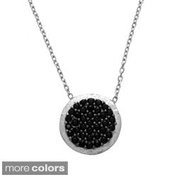 La Preciosa Sterling Silver Circle Disc CZ Necklace