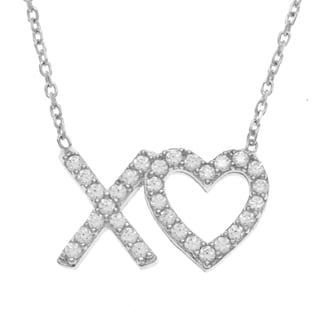 La Preciosa Sterling Silver 'XO' Heart CZ Necklace