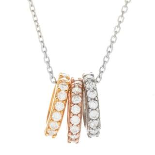 La Preciosa Sterling Silver Tri-Colored CZ Circles Necklace