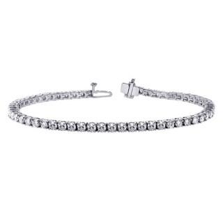 14k White Gold 4 1/2ct 4-prong Brilliant Cut Diamond Tennis Bracelet (G-H,SI1-SI2)