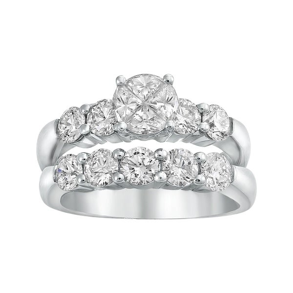 14k White Gold 2 1/6ct TDW Diamond Bridal Ring Set