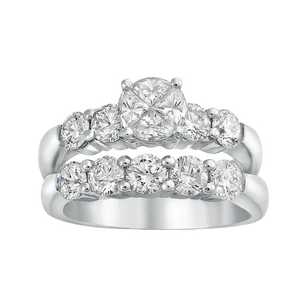 Beverly Hills Charm 14k White Gold 2 1/6ct TDW Diamond Bridal Ring Set