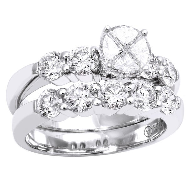 Beverly Hills Charm 14k White Gold 2 1/6ct TDW Diamond Bridal Ring Set (H-I, SI1-SI2)
