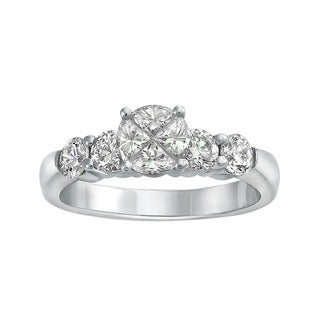 Beverly Hills Charm 14k White Gold 1 1/3ct TDW Diamond Engagement Ring