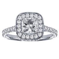 14k/ 18k White Gold 2ct TDW Diamond Encrusted Engagement Ring