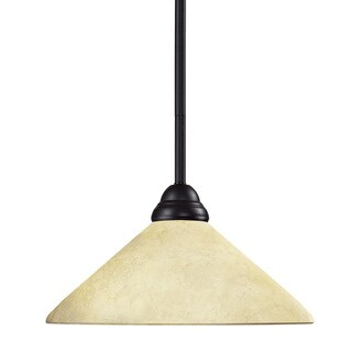 Riviera Bronze 1-light Mini Pendant with Glass Shade