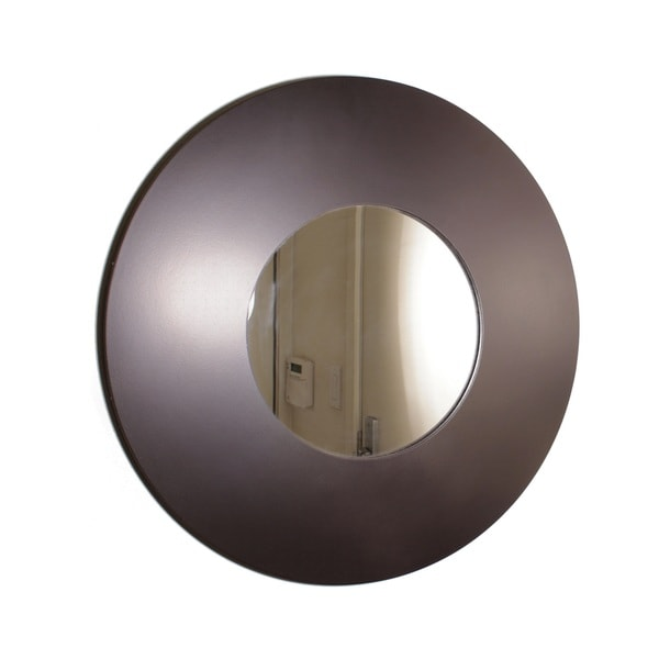 Contemporary Wooden Wide-framed Round Wall Mirror