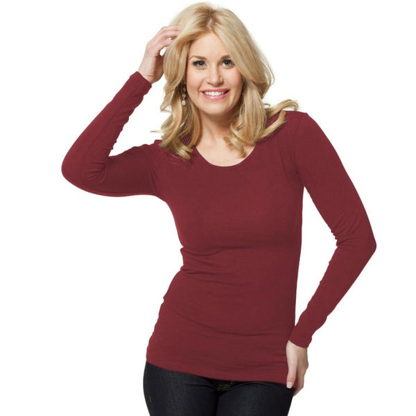 modbod Women's Basic Long Sleeve Scoop Neck Top