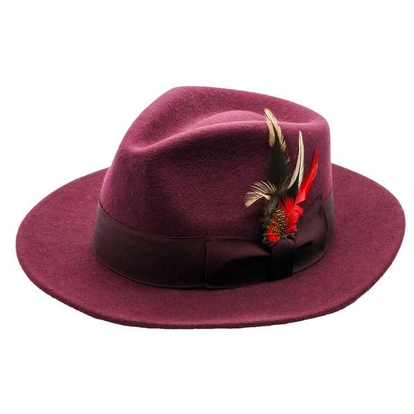 Ferrecci Men's Burgundy Wool Fedora Hat