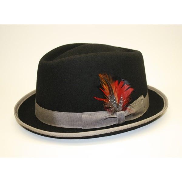 Ferrecci Men's Detroit Black Wool Felt Fedora Hat