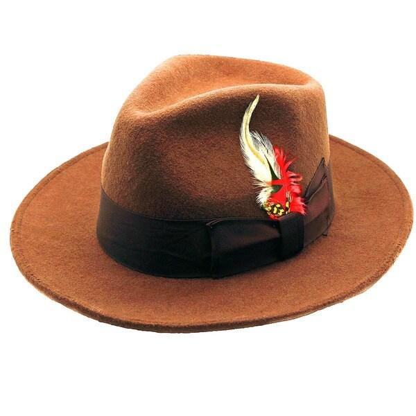 Ferrecci Men's Brown Coffee Wool Fedora Hat