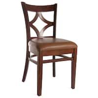 Medium Oak and Leatherette Diamond Back Dining Chairs (Set of 2)