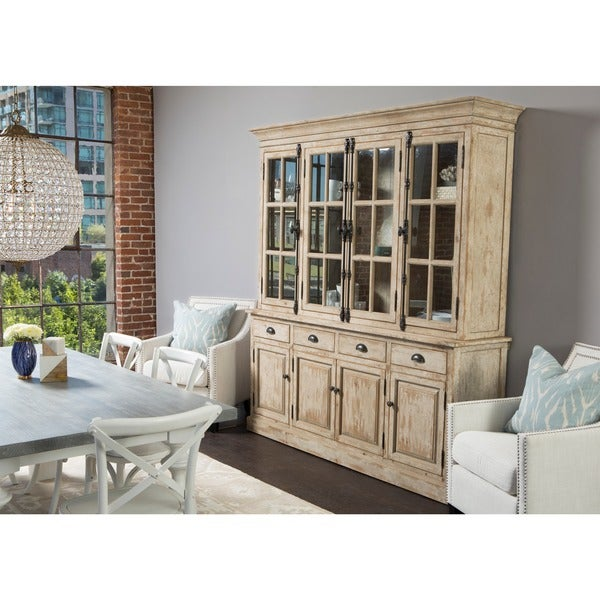 Kosas Home Wilson Antique White Reclaimed Pine Hutch Cabinet