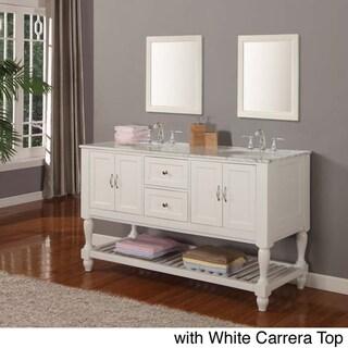 Direct Vanity 60-inch Pearl White Mission Turnleg Double Sink Vanity