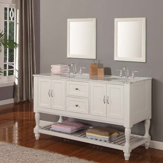 Direct Vanity 60-inch Pearl White Mission Turnleg Double Sink Vanity