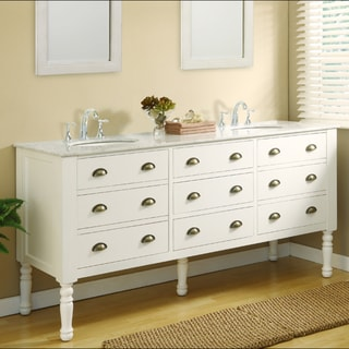 Direct Vanity 70-inch White Harvest Pearl Double Sink Vanity with Cabinets