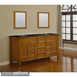 Direct Vanity 70-inch Oak Shutter Double Vanity Sink Cabinet