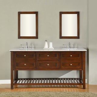 Direct Vanity 70-inch Dark Brown Mission Spa Double Vanity Sink Cabinet