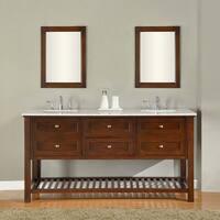 Direct Vanity Sink 70-inch Dark Brown Mission Spa Double Vanity Sink Cabinet