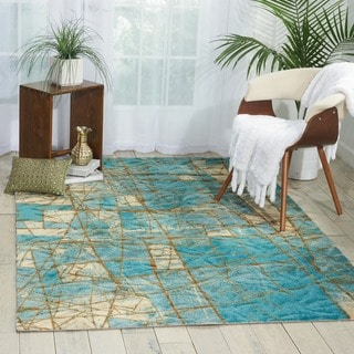 Luxor Abstract Mosaic Blue Rug (5' x 7')