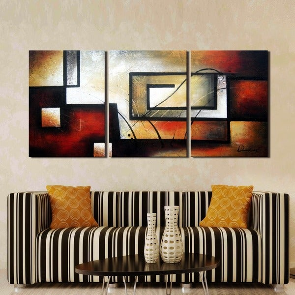 Exceptional U0027Abstract 418u0027 Hand Painted 3 Piece Gallery Wrapped Canvas Art Set   Free  Shipping Today   Overstock.com   15354358