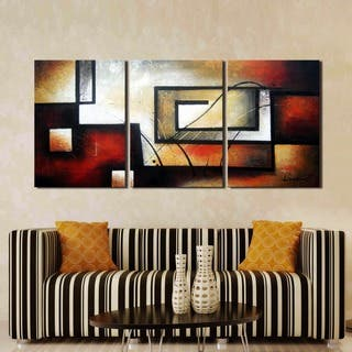 'Abstract 418' Hand Painted 3-piece Gallery-wrapped Canvas Art Set|https://ak1.ostkcdn.com/images/products/7986249/P15354358.jpg?impolicy=medium