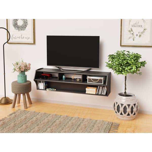 "Prepac Altus Plus 58"" Floating TV Stand - 58.25"" W x 16.75"" H x 16.00"" D. Opens flyout."