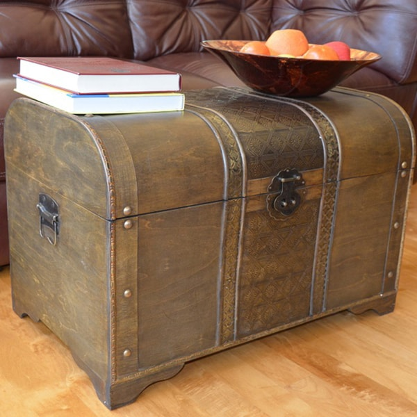 Shop old fashioned walnut large treasure chest wood trunk
