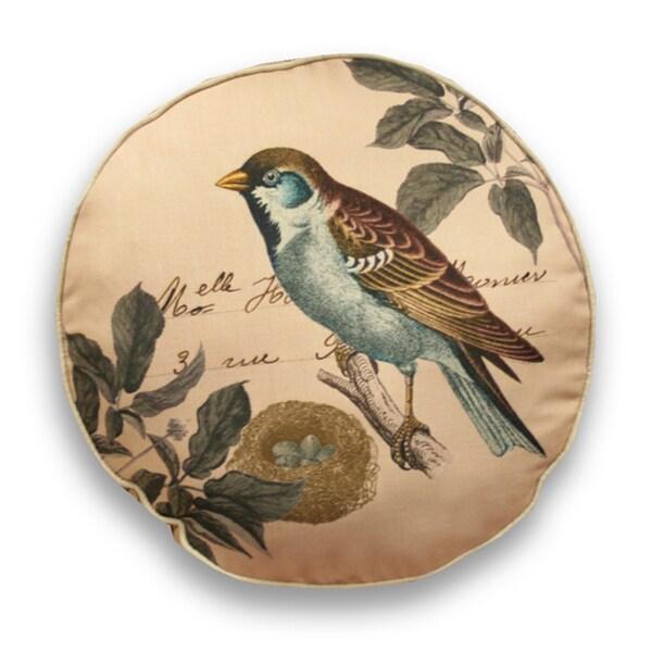 Decorative 18-inch Round Bird Throw Pillow