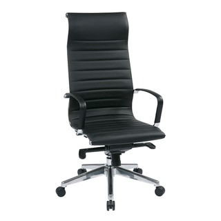 Office Star Products Black High-Back Eco Leather Chair