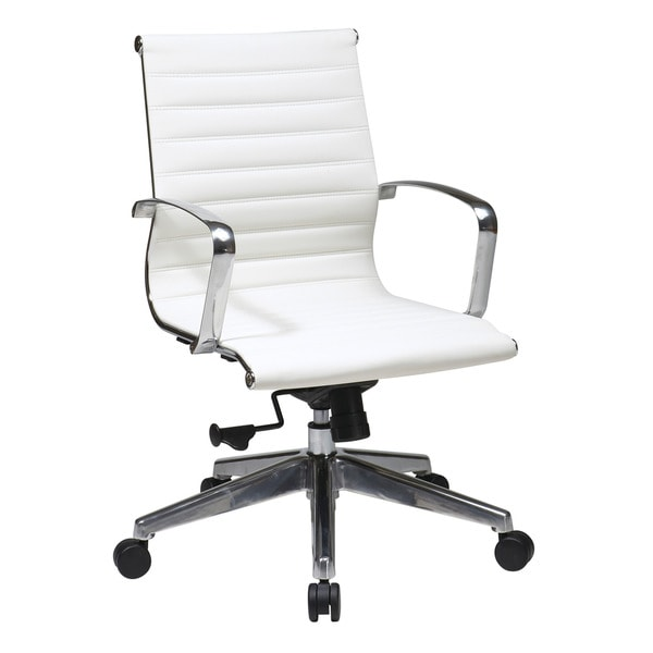 Overstock Office Furniture: Office Star Products Mid Back White Eco Leather Chair