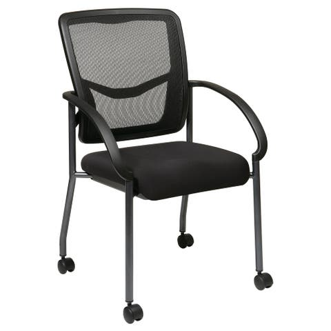 Pro-Line II Black Breathable ProGrid Rolling Visitor's Chair
