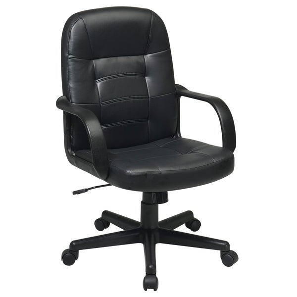 Work Smart Black Bonded Leather Mid-back Executive Chair