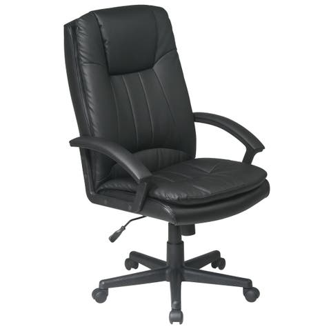 Office Star Work Smart Deluxe High Back Executive Bonded Leather Chair