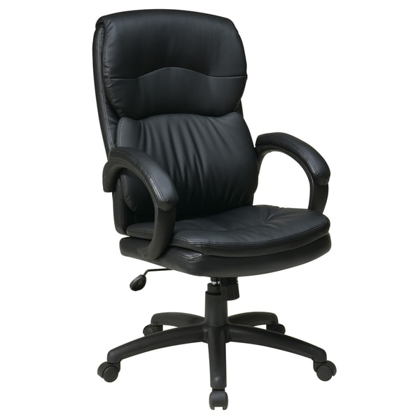 High-Back Black Bonded Leather Executive Office Chair with Padded Arms