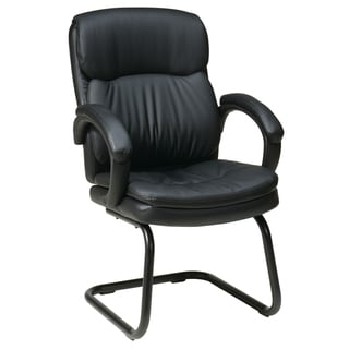 Work Smart Black Eco Leather Contour Visitor's Chair