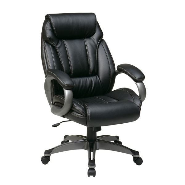 Office Star Products Work Smart Eco Leather Seat and Back Executive Chair