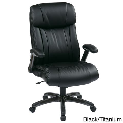 Office Star Work Smart Executive Bonded Leather Chair with Adjustable Padded Flip Arms