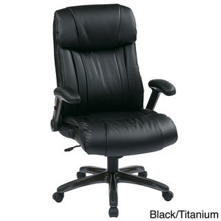 Executive Bonded Leather Chair with Adjustable Padded Flip Arms
