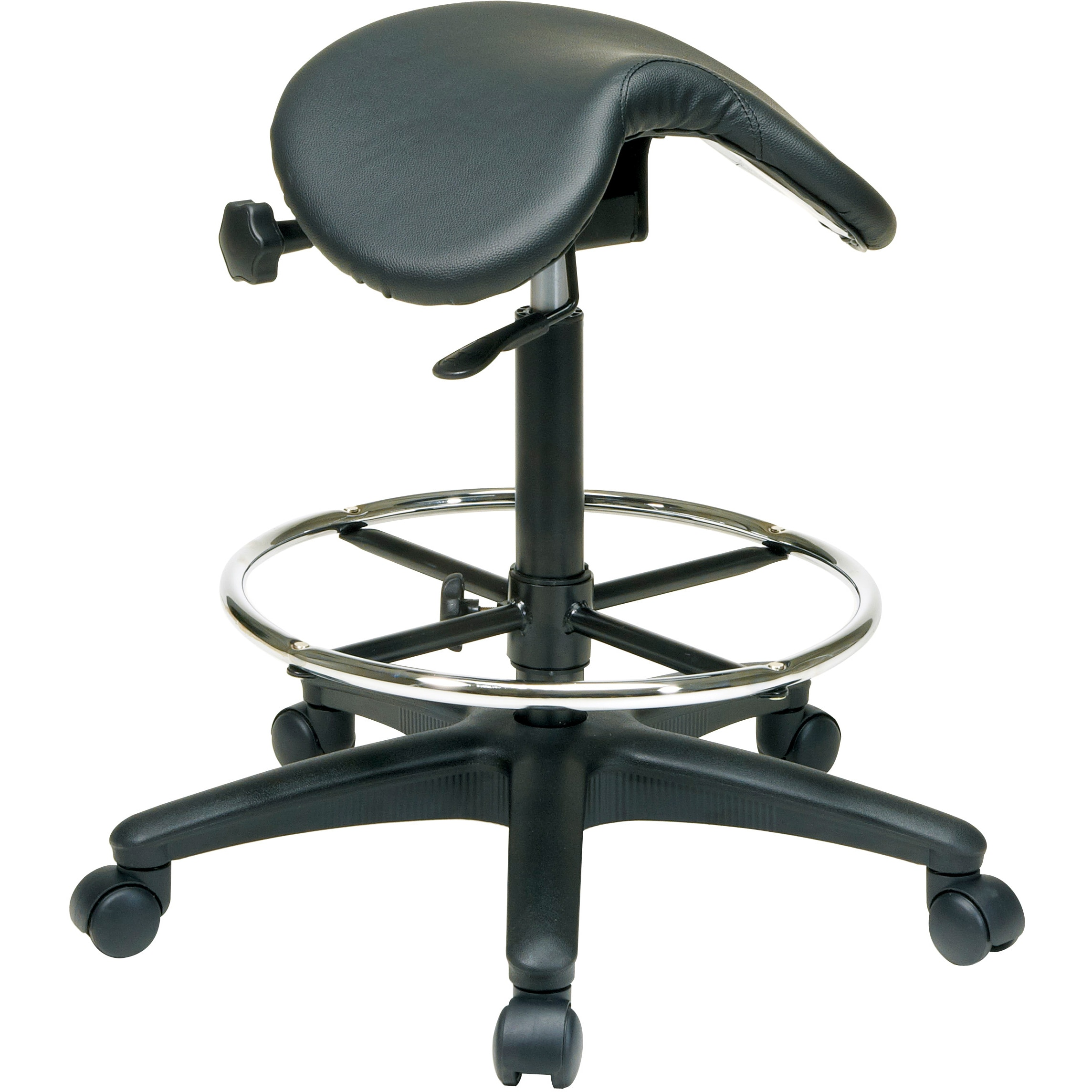 Office Star Work Smart Backless Drafting Saddle Seat Stool (Backless Drafting Stool with Nylon Base)