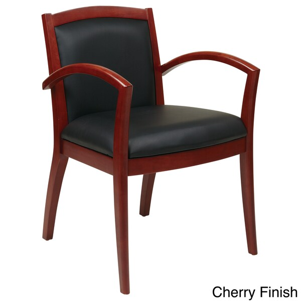 guest chair cherry finish office star products eco leather napa guest