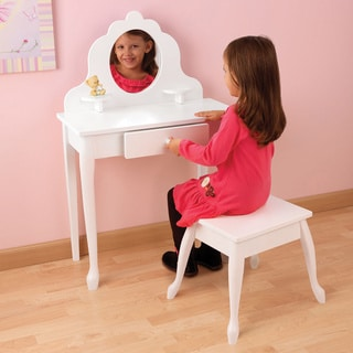 KidKraft Medium White Diva Vanity Table and Stool Set