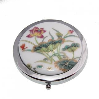 Handmade Porcelain Lotus Flower Cosmetic Mirrors (China)