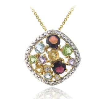 Glitzy Rocks Goldtone Multi Gemstone Diamond Accent Cluster Necklace